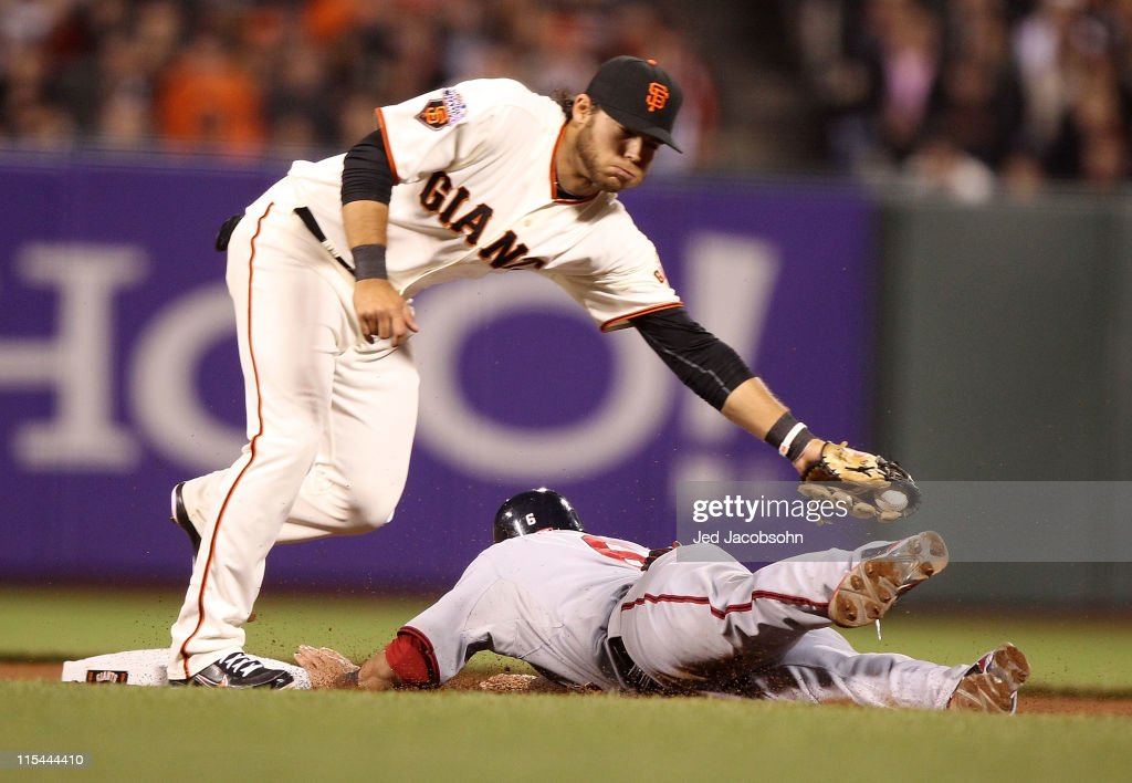 <a gi-track='captionPersonalityLinkClicked' href=/galleries/search?phrase=Ian+Desmond&family=editorial&specificpeople=835572 ng-click='$event.stopPropagation()'>Ian Desmond</a> #6 of the Washington Nationals steals second base past Brandon Crawford #35 of the San Francisco Giants during an MLB game at AT&T Park on June 6, 2011 in San Francisco, California.