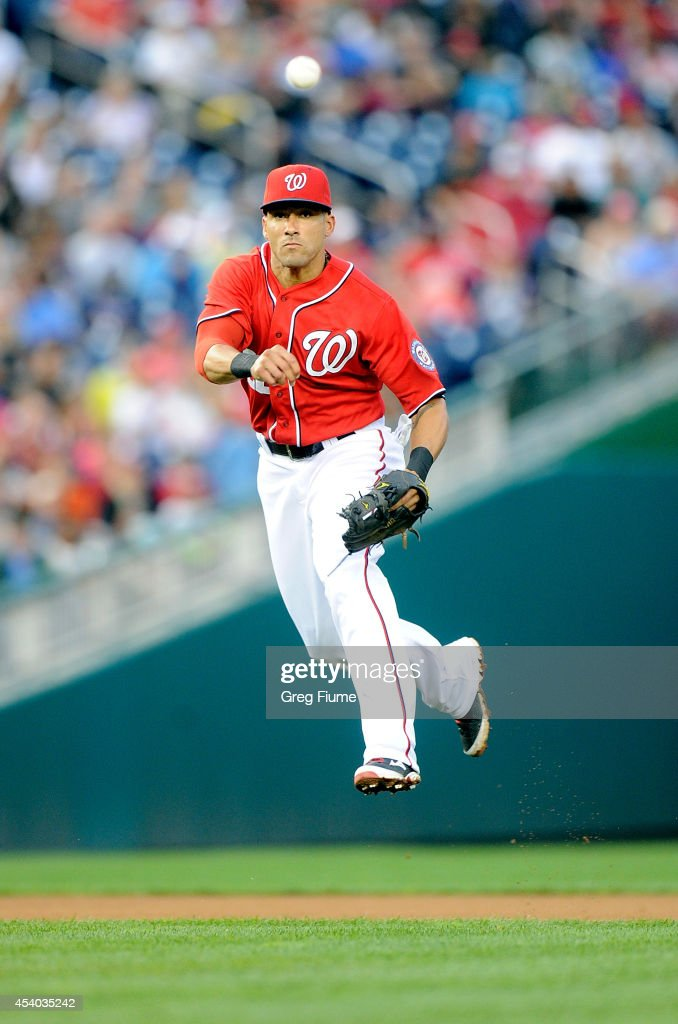 <a gi-track='captionPersonalityLinkClicked' href=/galleries/search?phrase=Ian+Desmond&family=editorial&specificpeople=835572 ng-click='$event.stopPropagation()'>Ian Desmond</a> #20 of the Washington Nationals throws out Angel Pagan #16 of the San Francisco Giants in the sixth inning at Nationals Park on August 23, 2014 in Washington, DC.