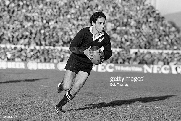 Ian Dunn of the New Zealand All Blacks with the ball during the 1st Test Match against the British Lions held at Lancaster Park in Christchurch on...