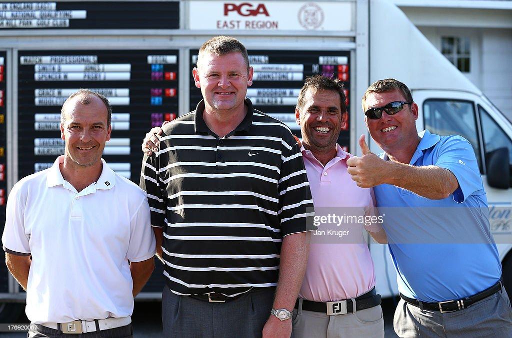 Ian Ellis of Costessey Park GCpartner Stuart Brown of Orton Meadows GC pose with fellow golfers Mark Stokes and partner Jonathan Fryatt during the...