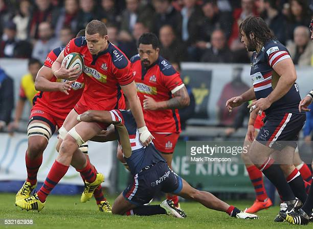 Ian Evans of Bristol Rugby goes on a charge during the Greene King IPA Championship Play Off Final match First Leg between Doncaster Knights and...
