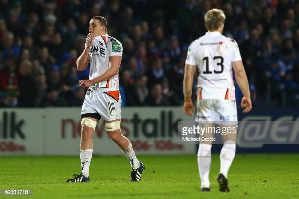 Ian Evans of Ospreys shows his dejection after being shown a red card during the Heineken Cup Pool One match between |Leinster and Ospreys at the...