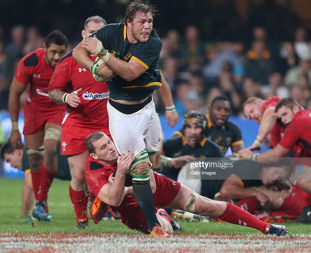 Ian Evans of the Wales looking to tackle Duane Vermeulen of South Africa during the Incoming Tour match between South Africa and Wales at Growthpoint Kings Park on June 14, 2014 in Durban, South Africa.