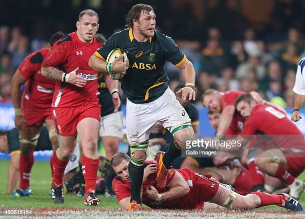 Ian Evans of the Wales looking to tackle Duane Vermeulen of South Africa during the Incoming Tour match between South Africa and Wales at Growthpoint...