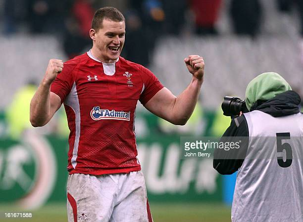 Ian Evans of Wales celebrates the victory after the 6 Nations match between France and Wales at the Stade de France on February 9 2013 in Paris France