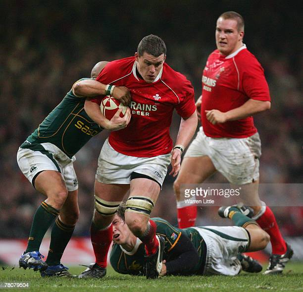 Ian Evans of Wales powers upfield during the rugby union international friendly match between Wales and South Africa at the Millennium Stadium on...
