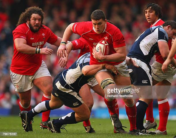 Ian Evans of Wales surges forward with the ball during the RBS 6 Nations match between Wales and Scotland at the Millennium Stadium on February 9...