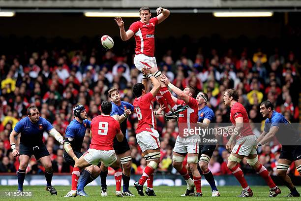 Ian Evans of Wales wins lineout ball during the RBS Six Nations Championship match between Wales and France at the Millennium Stadium on March 17...