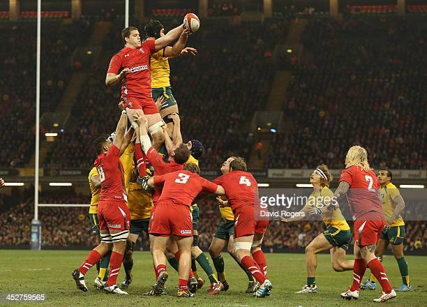 Ian Evans of Wales wins the lineout ball during the international match between Wales and Australia at the Millennium Stadium on November 30 2013 in...