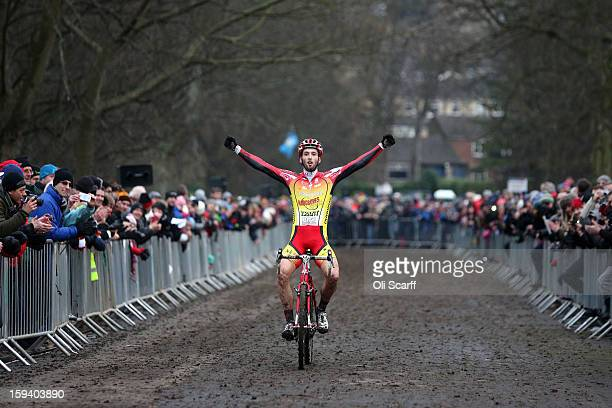 Ian Field crosses the line to retain his UK National Cyclocross Champion title at the 2013 National CycloCross Championships in Peel Park on January...