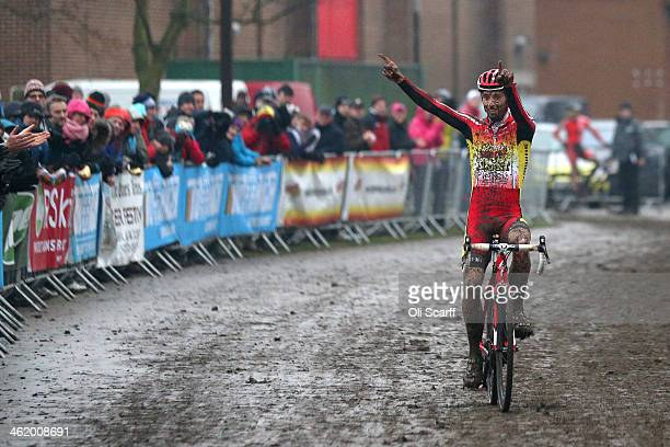 Ian Field crosses the line to win the Men's Championship at the 2014 National CycloCross Championships at Moorways Leisure Centre on January 12 2014...