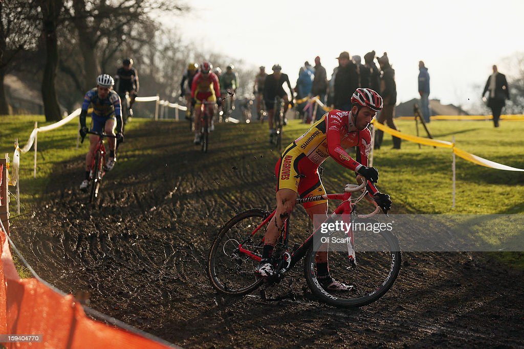 Ian Field (R) on his way to retaining his UK National Cyclocross Champion title at the 2013 National Cyclo-Cross Championships in Peel Park on January 13, 2013 in Bradford, England. The sport of cyclo-cross, featuring ,lightweight bikes with off-road tyres, has dramatically increased in popularity over the past few years. Cyclo-cross courses are often run over a mixture of terrains from tarmac to mud and frequently include obstacles or steep inclines where riders have to carry their bike.