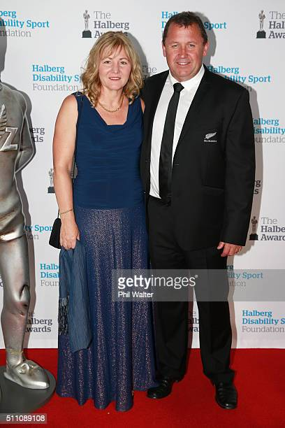 Ian Foster and his wife Leigh on the red carpet during the 2016 Halberg Awards at Vector Arena on February 18 2016 in Auckland New Zealand