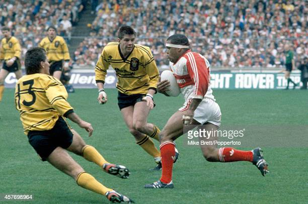 Ian French and Martin Ketteridge of Castleford cut off Zook Ema of Hull Kingston Rovers during the Rugby League Challenge Cup Final at Wembley...