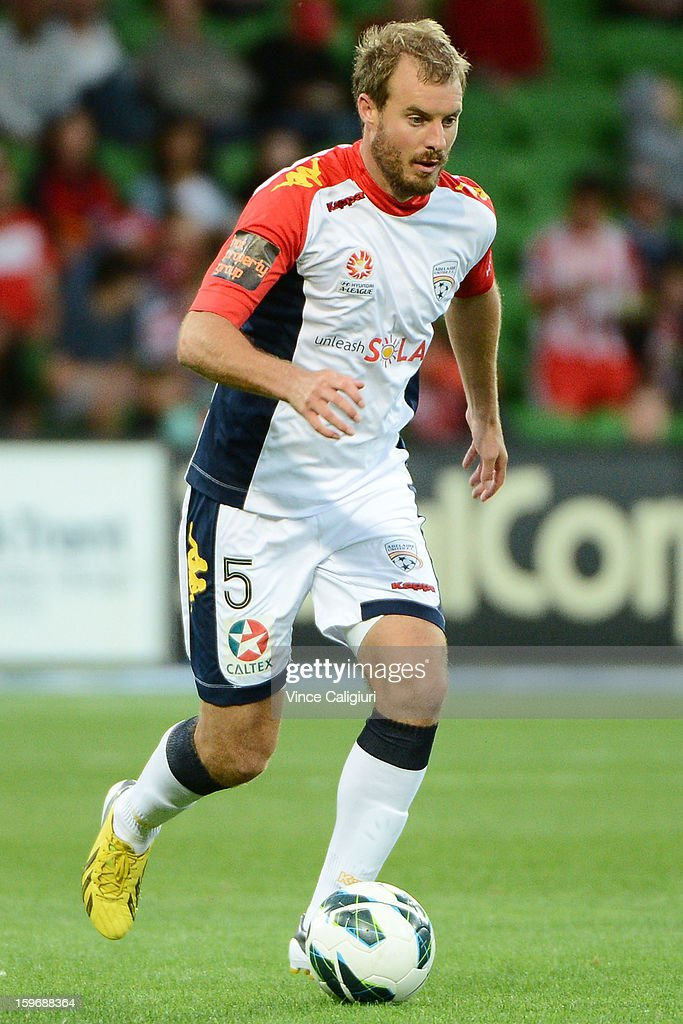 Ian Fyfe of United controls the ball during the round seventeen A-League match between Melbourne Heart and Adelaide United at AAMI Park on January 18, 2013 in Melbourne, Australia.