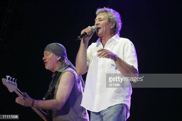 Ian Gillan and Roger Glover of Deep Purple perform on stage as part of the Monsters Of Rock festival a revival of the hard rock festival which first...
