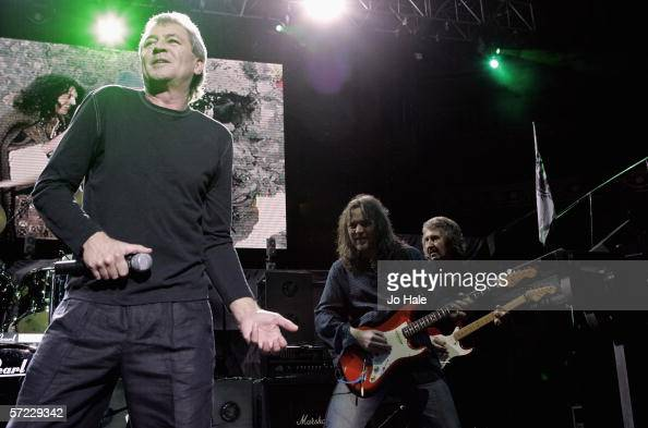 Ian Gillan Dean Howard and Steve Morris of Deep Purple perform on stage at the Tommy Vance Tribute night on the fifth night of a series of concerts...