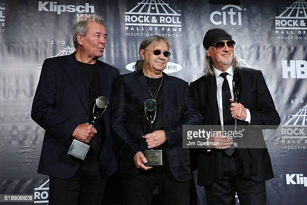 Ian Gillan Ian Paice and Roger Glover of Deep Purple pose on stage in the press room at the 31st Annual Rock And Roll Hall Of Fame Induction Ceremony...