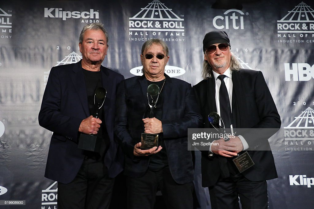 Ian Gillan, Ian Paice, and Roger Glover of Deep Purple pose on stage in the press room at the 31st Annual Rock And Roll Hall Of Fame Induction Ceremony at Barclays Center of Brooklyn on April 8, 2016 in New York City.