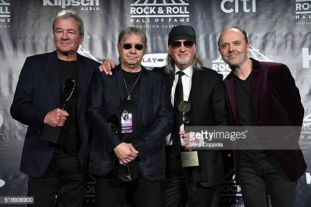 Ian Gillan Ian Paice and Roger Glover of Deep Purple pose with Lars Ulrich of Metallica on stage in the press room at the 31st Annual Rock And Roll...