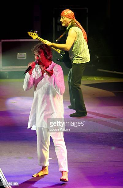 Ian Gillan Roger Glover of the band Deep Purple perform on stage as part of the British rock tripleheadline UK concert series' London stop at Wembley...