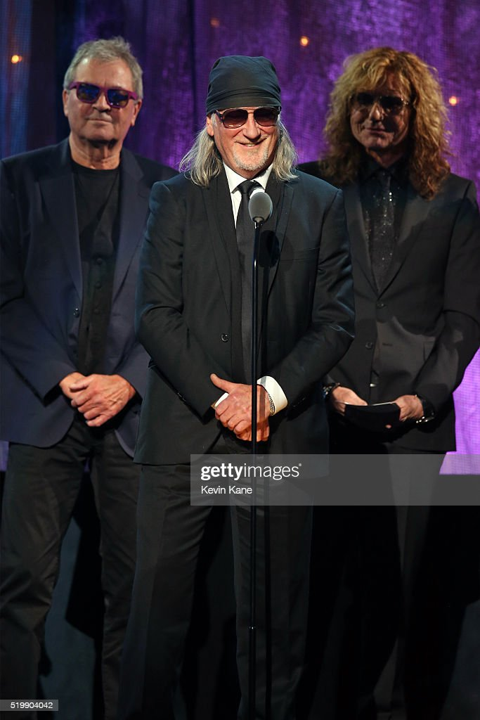 Ian Gillian, Roger Glover, and David Coverdale of Deep Purple speak on stage at the 31st Annual Rock And Roll Hall Of Fame Induction Ceremony at Barclays Center of Brooklyn on April 8, 2016 in New York City.
