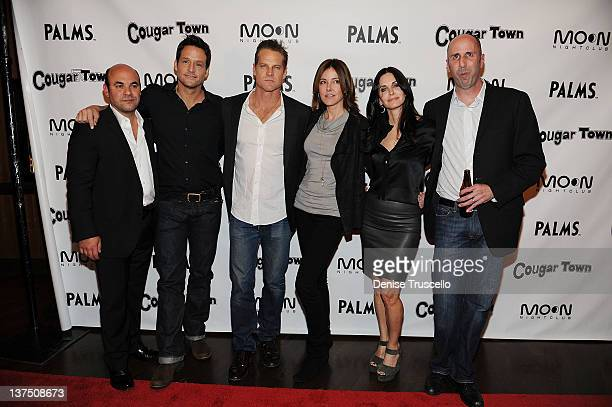 Ian Gomez Josh Hopkins Brian Van Holt Christa Miller Courteney Cox and Bob Clendenin arrive at ABC's 'Cougar Town' viewing party at Moon Nightclub at...