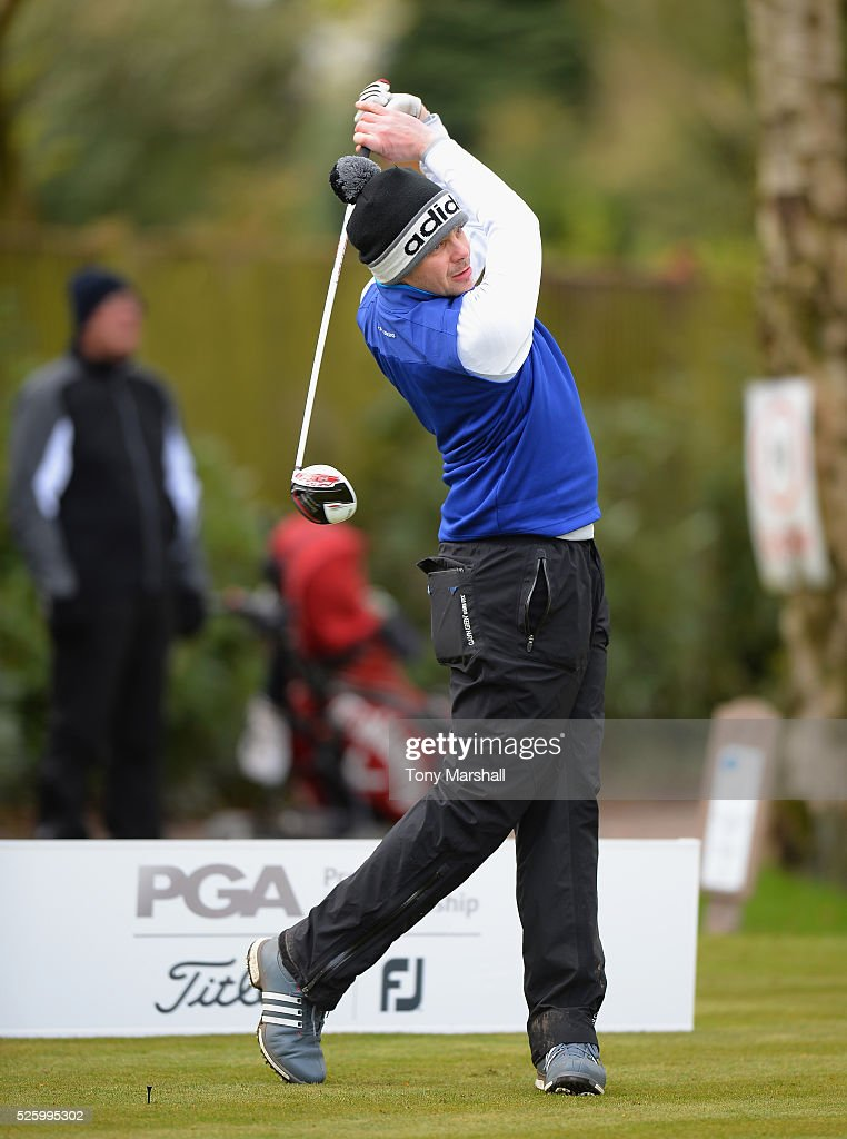 Ian Gregory of Charnwood Golf Centre plays his first shot on the 1st tee during the PGA Professional Championship - Midland Qualifier at Little Aston Golf Club on April 29, 2016 in Sutton Coldfield, England.