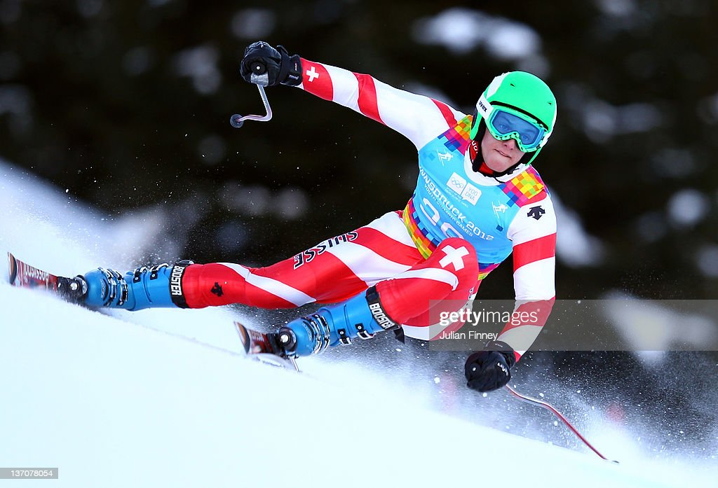 Ian Gut of Switzerland skis in the Mens Super Combined event during the Winter Youth Olympic Games on January 15, 2012 in Patscherkofel, Austria.