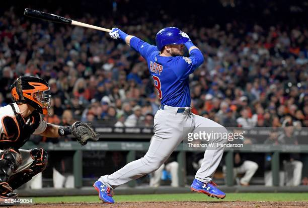 Ian Happ of the Chicago Cubs hits an rbi double scoring Willson Contreras against the San Francisco Giants in the top of the six inning at ATT Park...