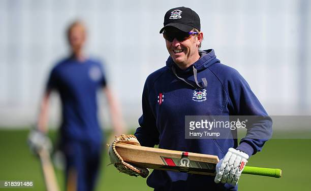 Ian Harvey Assistant Coach of Gloucestershire smiles during the MCC Univesity Match between Gloucestershire and Durham MCCU at the County Ground on...