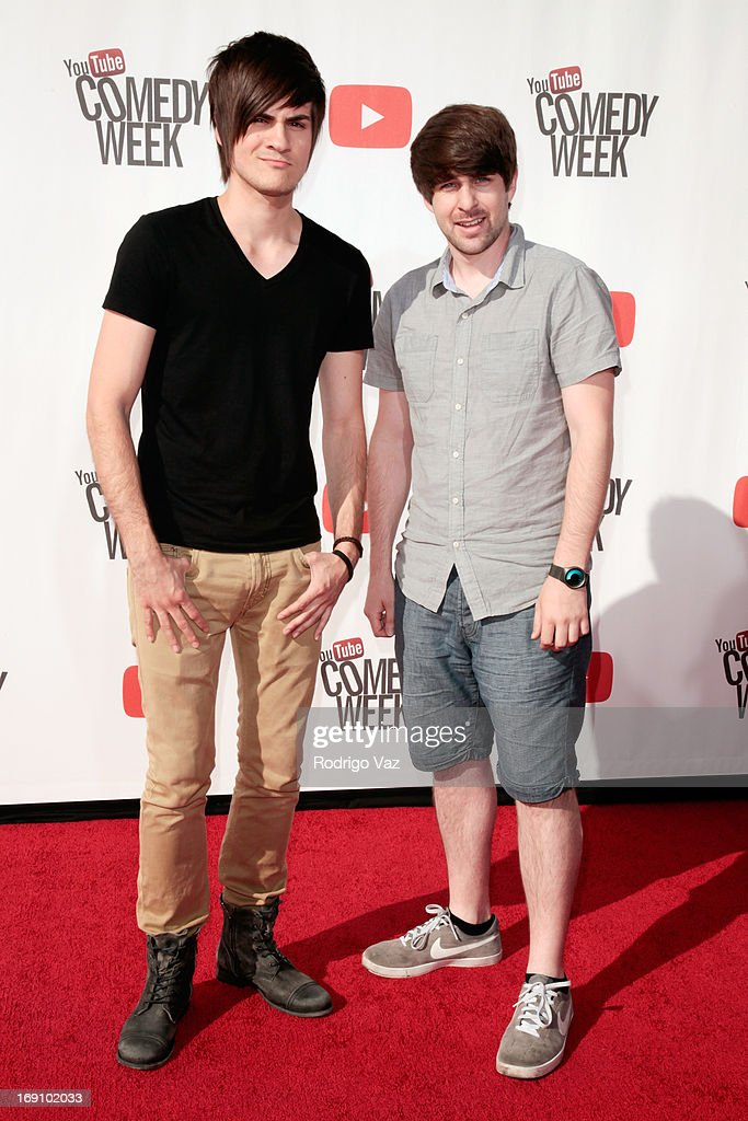 Ian Hecox and Anthony Padilla of Smosh and arrive at the YouTube Comedy Week Presents 'The Big Live Comedy Show' at Culver Studios on May 19, 2013 in Culver City, California.