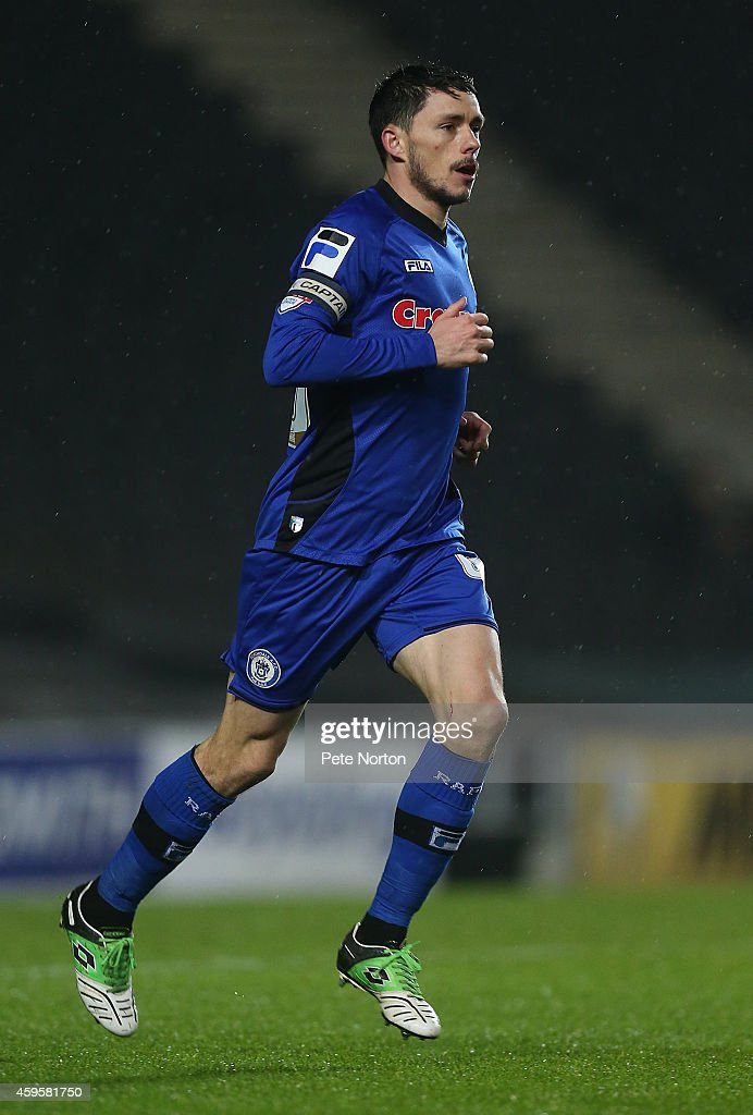 Ian Henderson of Rochdale in action during the Sky Bet League One match between MK Dons and Rochdale at Stadium mk on November 25 2014 in Milton...