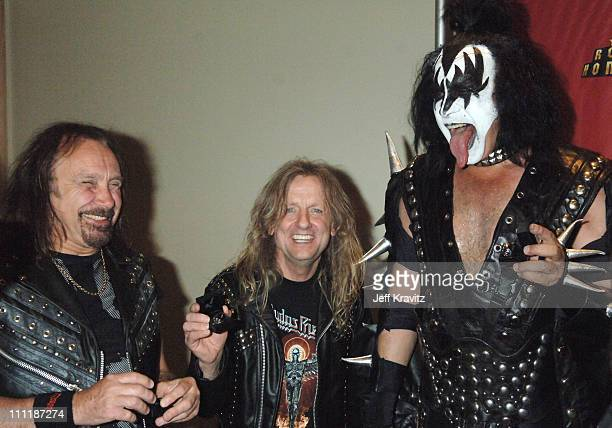 Ian Hill and KK Downing of Judas Priest with Gene Simmons of KISS