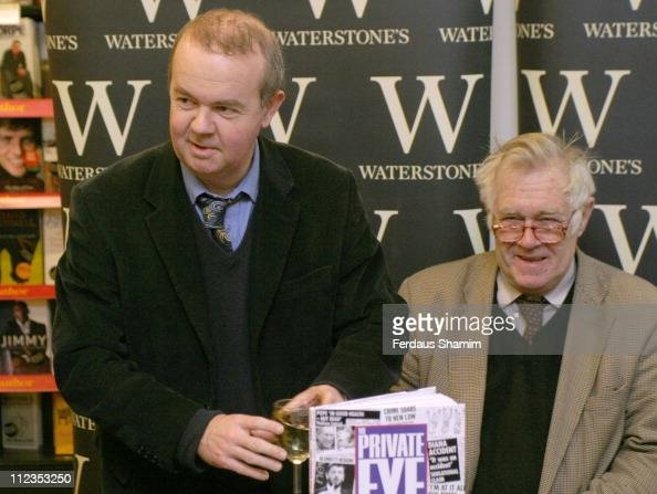 Ian Hislop and Richard Ingrams during Ian Hislop Signs His Book 'Private Eye Annual 2005' at Waterstone's in London November 29 2005 at Waterstone's...