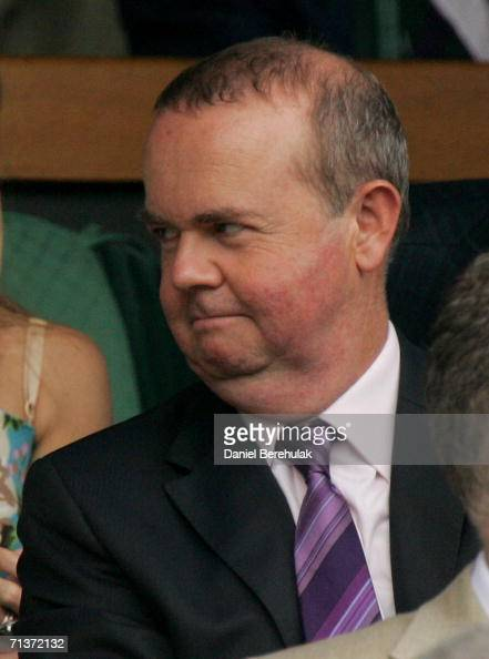 Ian Hislop looks on from the Royal Box on Centre Court during day nine of the Wimbledon Lawn Tennis Championships at the All England Lawn Tennis and...