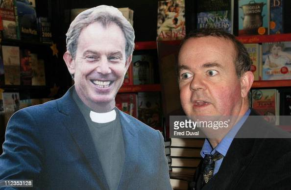 Ian Hislop with cardboard cut out of Tony Blair during Ian Hislop Signs His Book 'Private Eye Annual 2005' at Waterstone's in London November 29 2005...