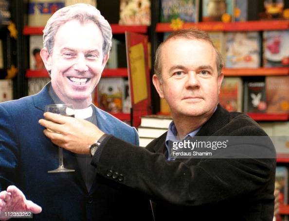 Ian Hislop with Tony Blair Cardboard cutout during Ian Hislop Signs His Book 'Private Eye Annual 2005' at Waterstone's in London November 29 2005 at...