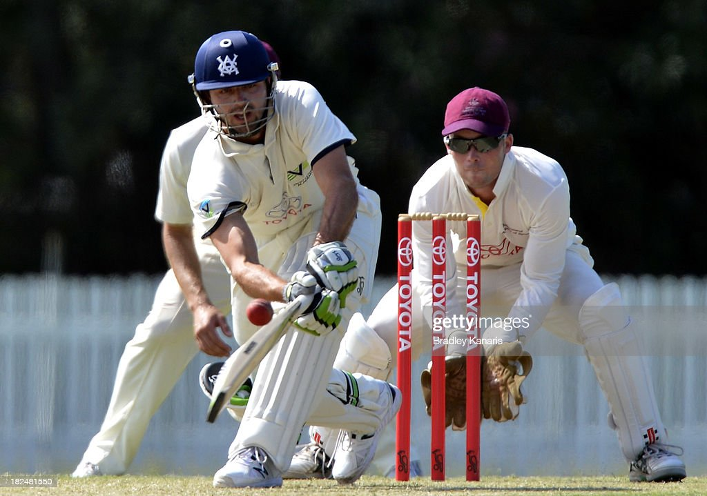 Ian Holland of Victoria bats during day one of the Futures League match between Queensland and Victoria at Allan Border Field on September 30, 2013 in Brisbane, Australia.