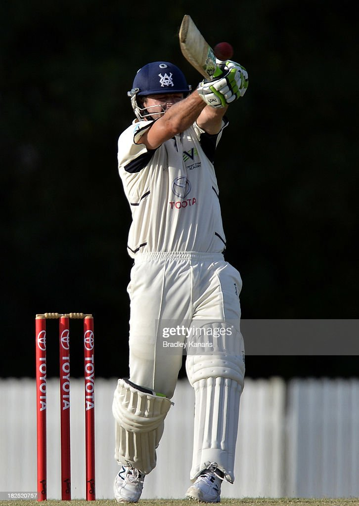 Ian Holland of Victoria plays a shot during day one of the Futures League match between Queensland and Victoria at Allan Border Field on September 30, 2013 in Brisbane, Australia.