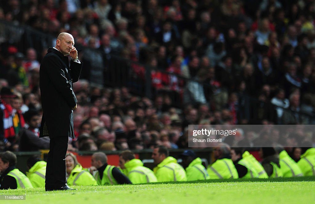 Ian Holloway manager of Blackpool looks dejected during the Barclays Premier League match between Manchester United and Blackpool at Old Trafford on...
