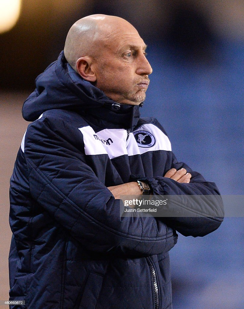 Ian Holloway Manager of Millwall FC looks on during the Sky Bet Championship match between Millwall and Bolton Wanderers at The Den on December 19...