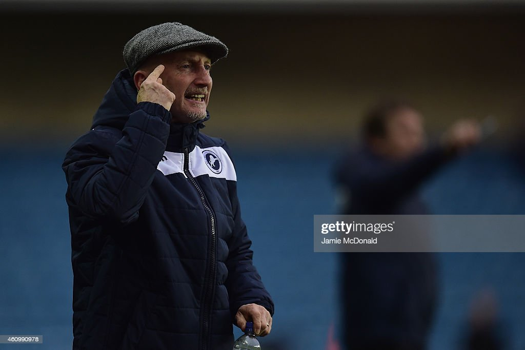 Ian Holloway of Millwall gives instructions during the FA Cup Third Round match between Millwall and Bradford City at The Den on January 3 2015 in...