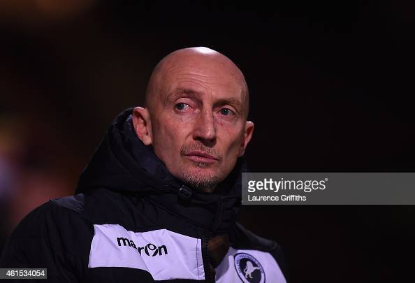Ian Holloway of Millwall looks on during the FA Cup Third Round Replay between Bradford City and Millwall at Coral Windows Stadium Valley Parade on...