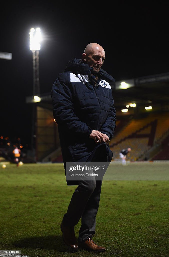 Ian Holloway of Millwall trudges off the field after defeat in the FA Cup Third Round Replay between Bradford City and Millwall at Coral Windows Stadium, Valley Parade on January 14, 2015 in Bradford, England.