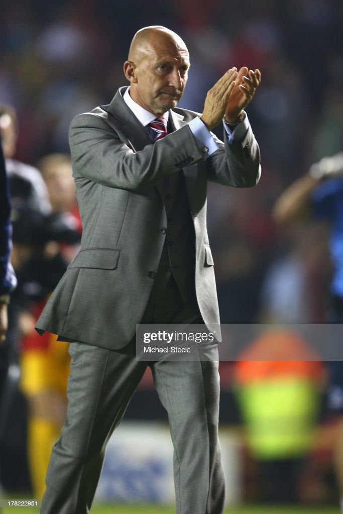<a gi-track='captionPersonalityLinkClicked' href=/galleries/search?phrase=Ian+Holloway&family=editorial&specificpeople=235580 ng-click='$event.stopPropagation()'>Ian Holloway</a> the manager of Crystal Palace applauds the home supporters after his sides1-2 defeat during the Capital One Cup second round match between Bristol City and Crystal Palace at Ashton Gate on August 27, 2013 in Bristol, England.