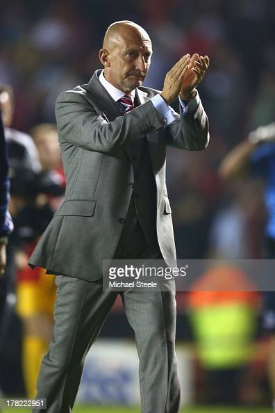 Ian Holloway the manager of Crystal Palace applauds the home supporters after his sides12 defeat during the Capital One Cup second round match...