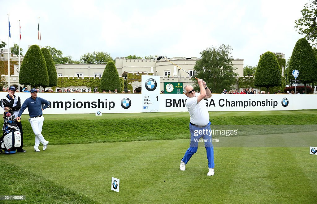 Ian Hosegood tees off during the Pro-Am prior to the BMW PGA Championship at Wentworth on May 25, 2016 in Virginia Water, England.