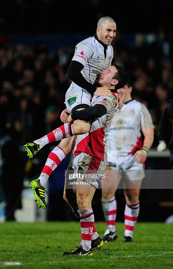 Ian Humphreys and Paddy Wallace of Ulster celebrate victory during the Heineken Cup match between Ulster and Biarritz at Ravenhill on January 15 2011...