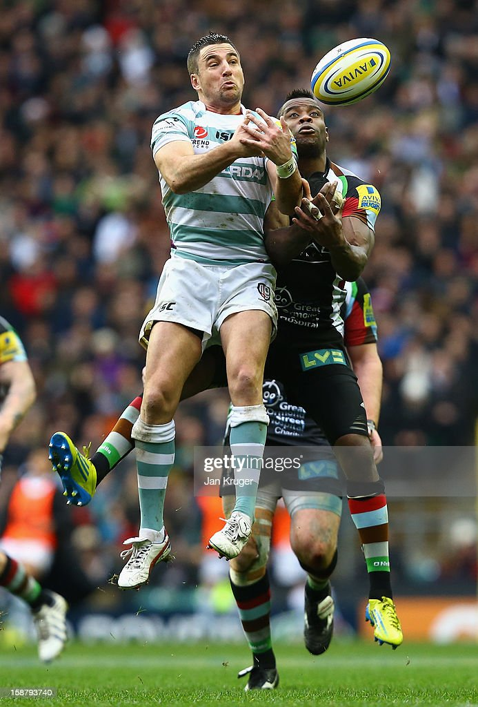 <a gi-track='captionPersonalityLinkClicked' href=/galleries/search?phrase=Ian+Humphreys&family=editorial&specificpeople=672737 ng-click='$event.stopPropagation()'>Ian Humphreys</a> of London Irish jumps for a high a ball with <a gi-track='captionPersonalityLinkClicked' href=/galleries/search?phrase=Ugo+Monye&family=editorial&specificpeople=221264 ng-click='$event.stopPropagation()'>Ugo Monye</a> of Harlequins during the Aviva Premiership match between Harlequins and London Irish at Twickenham Stadium on December 29, 2012 in London, England.